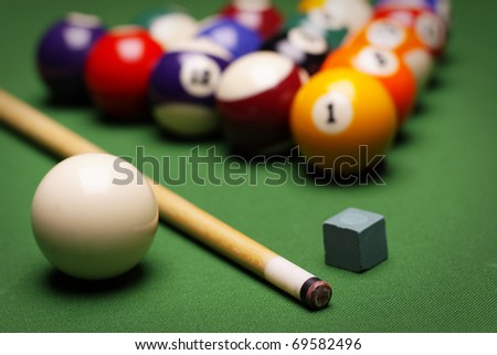 Pool game on green table! - stock photo