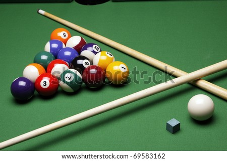 Pool game on table! Billiard game - stock photo