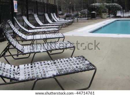 Pool in Snow - stock photo