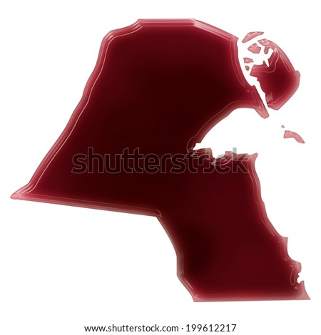 Pool of blood (or wine) that formed the shape of Kuwait. (series) - stock photo