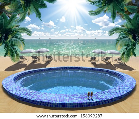 Pool on a tropical island - stock photo