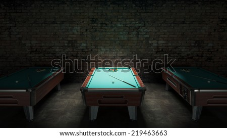pool table with brick wall - stock photo