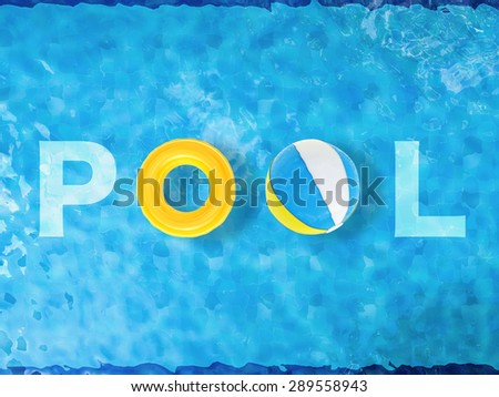 pool top view with swim ring and beach ball - stock photo