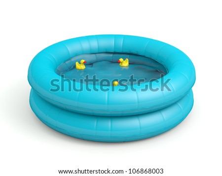 Pool with toy ducks. 3D model isolated on white background - stock photo