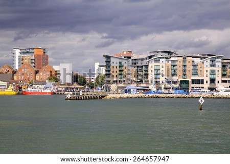 POOLE, DORSET, UK. OCTOBER 01, 2014.  The quayside on the habor at Poole in Dorset, UK. - stock photo