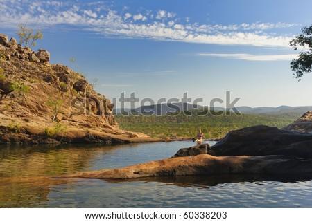 pools at the Top of the Gunlom waterfall in Kakadu National Park, Northern territories, Australia - stock photo