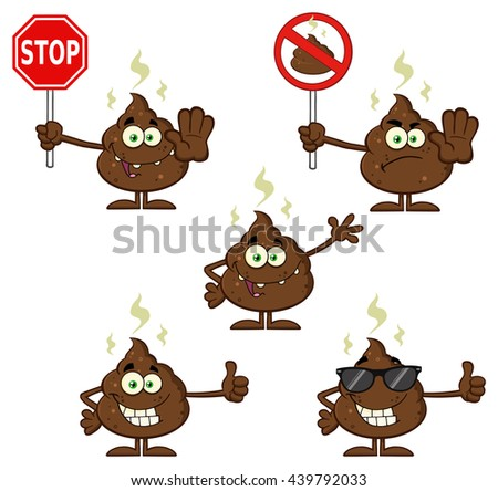 Poop Cartoon Mascot Character. Raster Illustration Isolated On White Background Collection Set 4 - stock photo