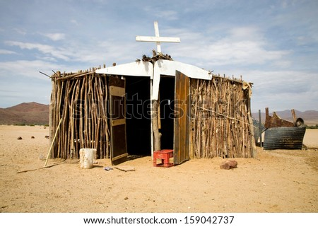 Poor christian church in the desert, north of Namibia 2006. - stock photo