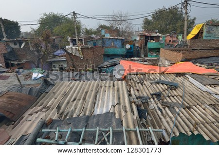 poor district in the city of New Delhi - stock photo