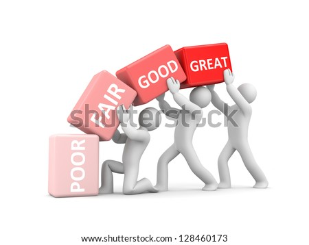 Poor, Fair, Good, Great to symbolize improvement - stock photo