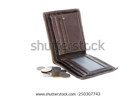 Poor male wallet with coins isolated on white background - stock photo