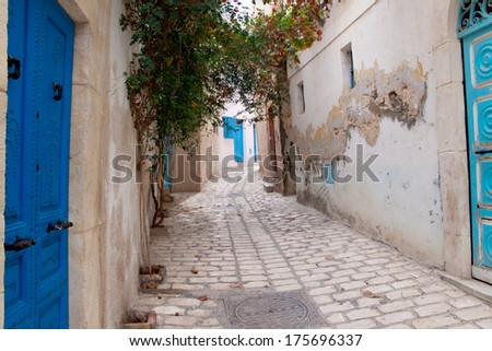 Poor street in Medina of Sousse, Tunisia - stock photo