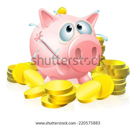 Poorly piggy bank concept, a piggy bank surrounded by gold coins sweating with a fever and causing a thermometer to burst - stock photo