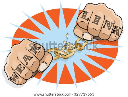 Pop Art Chained Fists Weak Link Tattoo. Great illustration of Pop Art Chained Fists with Weak Link Tattoo breaking free from the shackles of imprisonment in an act of defiance and redemption. - stock photo