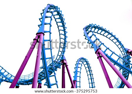 Pop art color roller coaster isolated on white background - stock photo