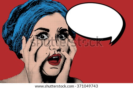 Pop art comic style woman with speech bubble, vintage poster - stock photo
