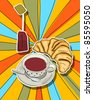 Pop art graphic background with tea cup and croissant - stock photo