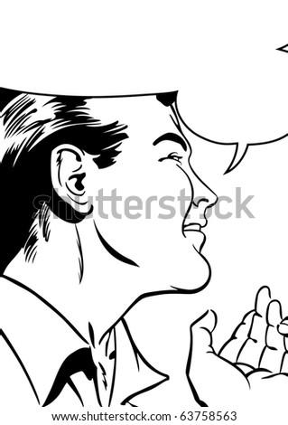 Pop Art Illustration of a Man - stock photo