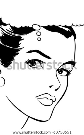 Pop art illustration of a woman - stock photo