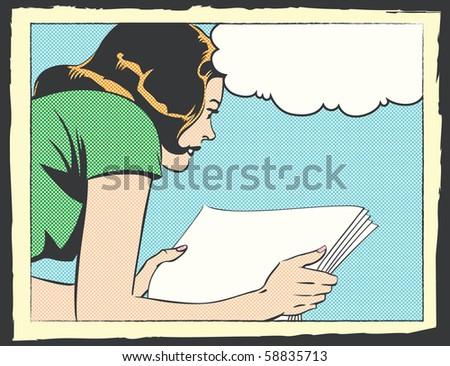 Pop Art Illustration of a Woman Reading - stock photo