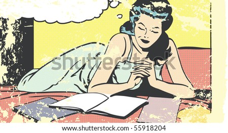 Pop art illustration of a woman reading on a bed - stock photo