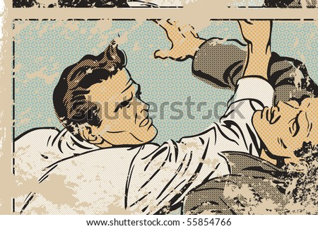 Pop art illustration of men fighting - stock photo