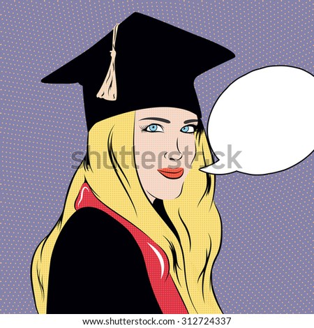 Pop art illustration with educated girl. Dotted pin up art with student woman in square hat and mantle. - stock photo