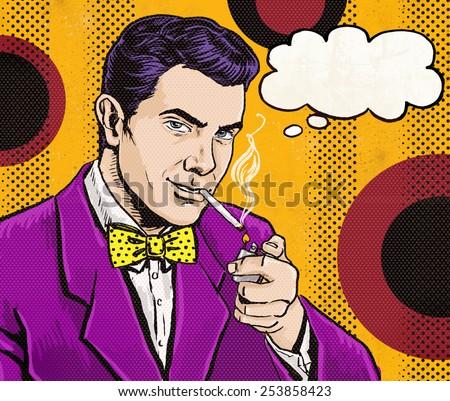 Pop Art Man, cigarette, speech bubble. Party invitation.Comic man.Playboy.Dandy.Gentleman. Smoker, thought bubble. Pop art background, advice, advertising, 1950s, 1960s, vintage man, flirtation, flirt - stock photo