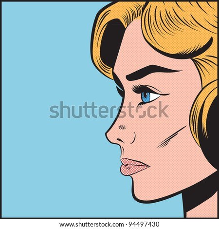 Pop Art Serious Woman in Profile - stock photo