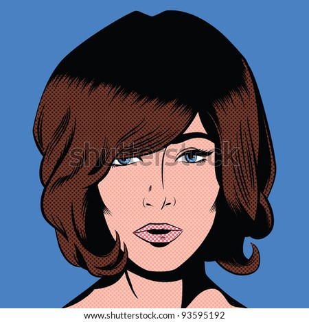 Pop Art Style Mod Girl - stock photo