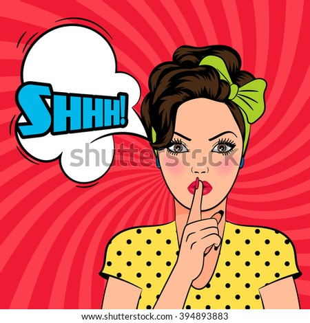 Pop art woman asking for silence - stock photo