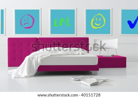 pop bedroom - stock photo