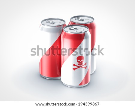 pop can with poison sign - stock photo