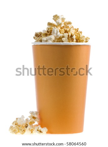 pop corn in caramel syrup in the paper box isolated on white background - stock photo