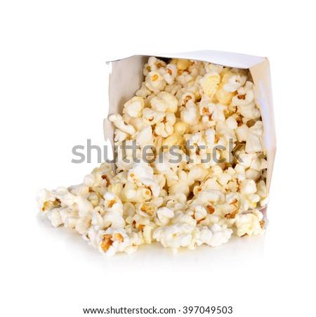 Pop corn Salt  in paper box on white background - stock photo