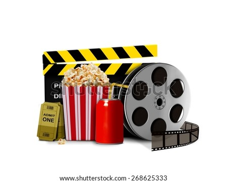 Pop corn with soda and movie shows - stock photo