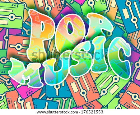Pop music retro concept. Vintage poster design - stock photo