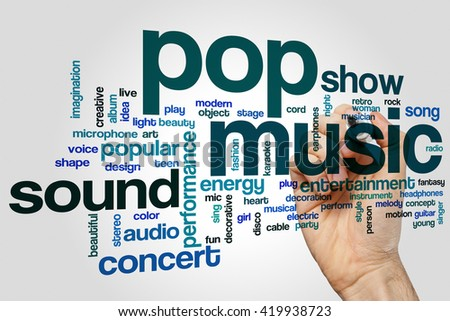 Pop music word cloud concept with concert  entertainment related tags - stock photo
