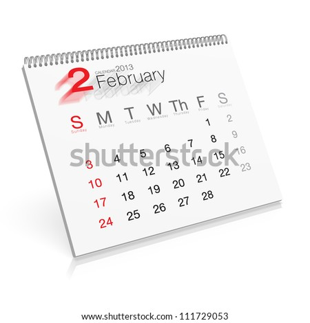 Pop-up Calendar February 2013 - stock photo