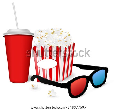 Popcorn, a drink and 3D glasses for cinema  - stock photo