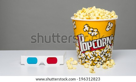 Popcorn and 3d glasses - stock photo