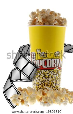 Popcorn and film - stock photo