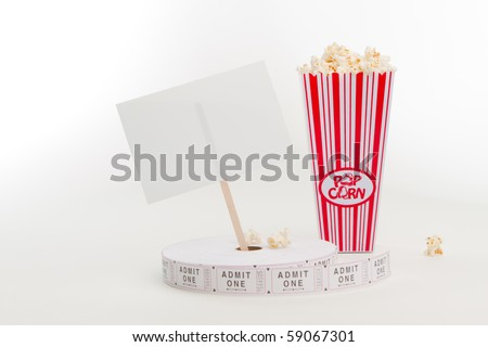 Popcorn and ticket reel - stock photo