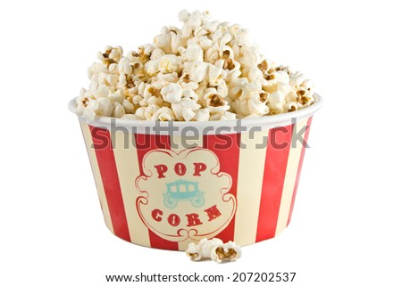 Popcorn box isolated on a white background - stock photo