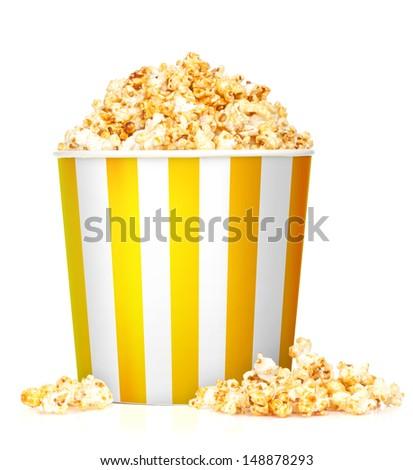 Popcorn box. Isolated on white background - stock photo
