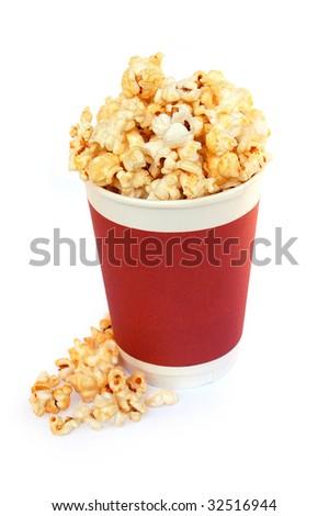 Popcorn bucket on white background - stock photo