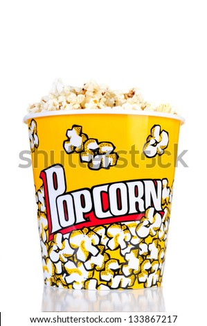 Popcorn bucket red and yellow on a white background - stock photo