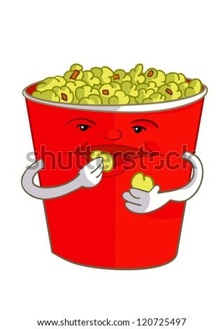 popcorn eating popcorn - stock photo