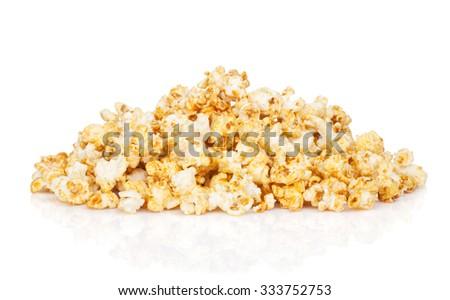 Popcorn heap. Isolated on white background - stock photo