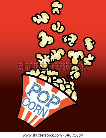 Popcorn in a box on red background - Also available as a vector-file - stock photo